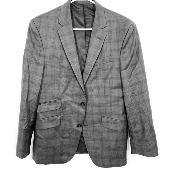 Kenneth Cole Wool Plaid Suit Jacket Blazer sz 40S